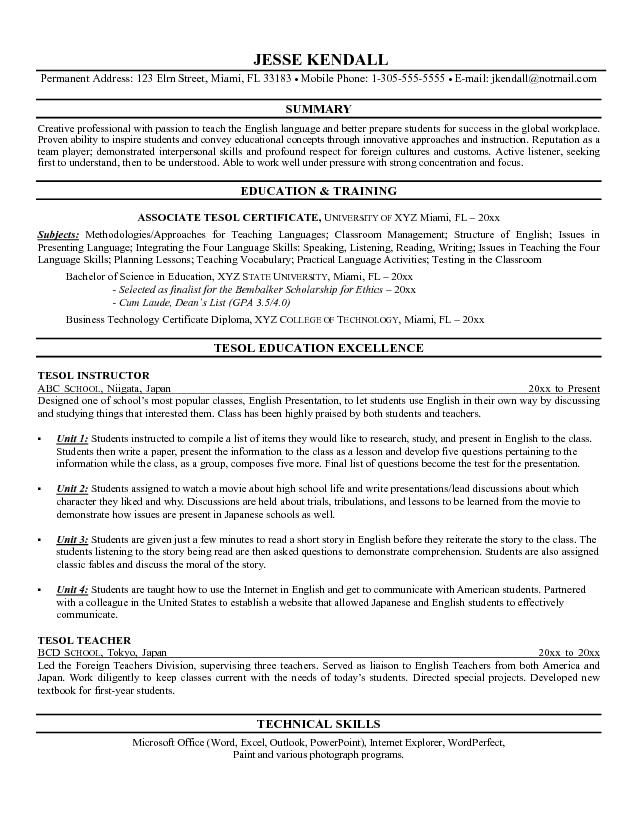 example of a tesl instructor resume