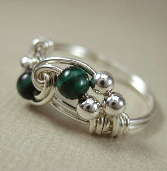 Malachite Ring Wire Wrapped Sterling Silver Duet  by holmescraft