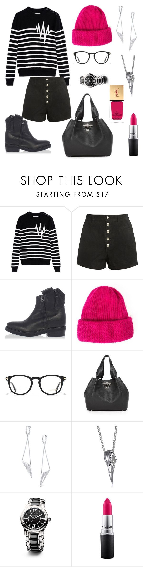 """""""Hipster chic with neon pink details"""" by pale-readhead ❤ liked on Polyvore featuring Each X Other, rag & bone, Cinzia Araia, Tak.Ori, Tom Ford, Alexander Wang, KC Designs, David Yurman, MAC Cosmetics and Yves Saint Laurent"""