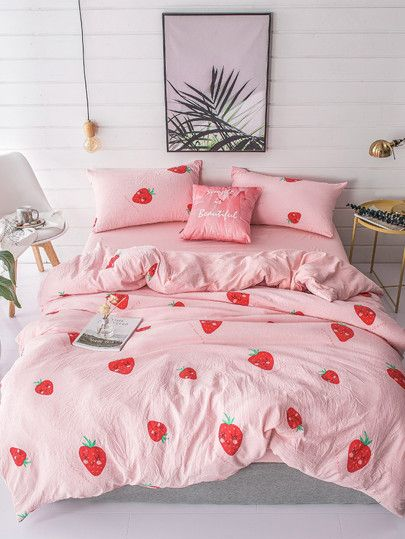 5d11da3991 Shop Strawberry & Letter Print Sheet Set online. SheIn offers Strawberry &  Letter Print Sheet Set & more to fit your fashionable needs.