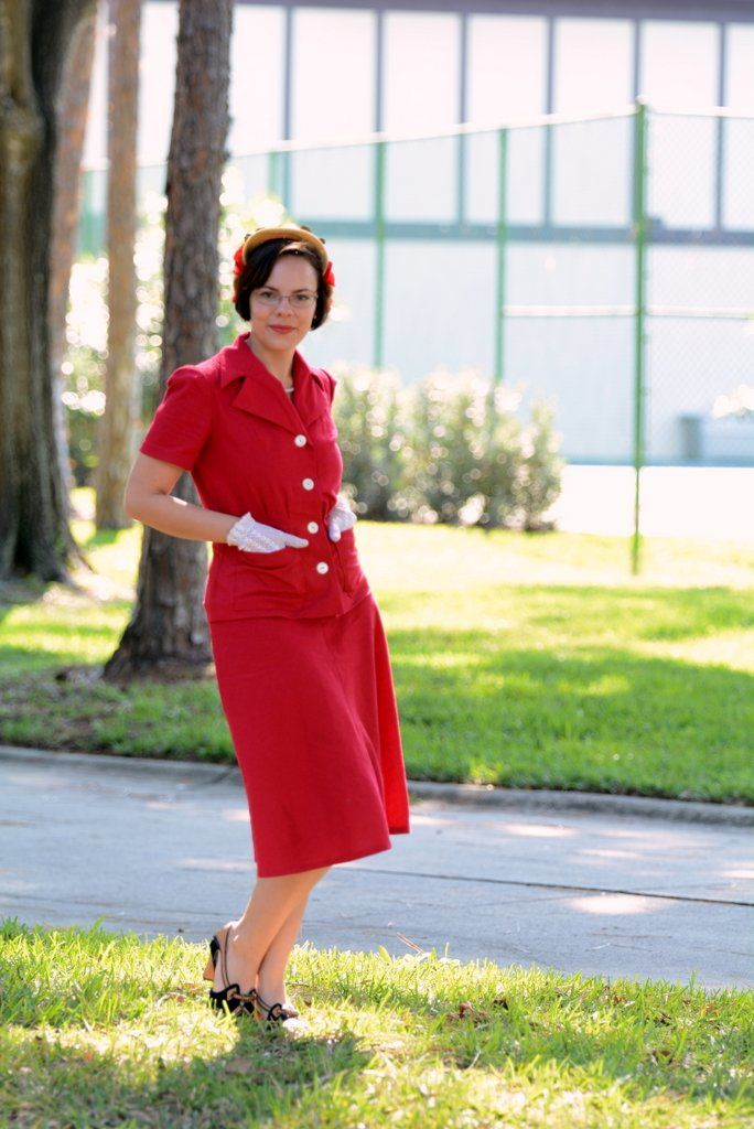 Red linen jacket from Simplicity 4013 c. 1939