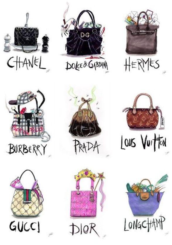 When #passion becomes #obsession  #prada #dior #chanel #burberry #draw #bags #illustration #moda #fashion