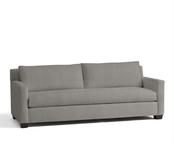 York Square Arm Upholstered Sofa 80 5 With Bench Cushion Down Blend Wrapped Cushions Twill White Furniture Sofas Loveseats Pottery Barn Upholstered Sofa Sofa Fabric Sofa