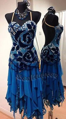L1989 Ballroom Latin Rhythm Salsa Rumba UK10/ US8 Dance Dress Blue