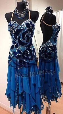 L1989 Ballroom Latin Rhythm Salsa Rumba UK10/ US8 Dance Dress Blue
