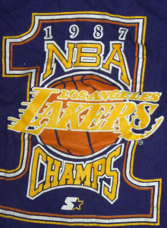 1987 Lakers T shirt / Purple / NBA / Los Angeles / by JEWVENCHY