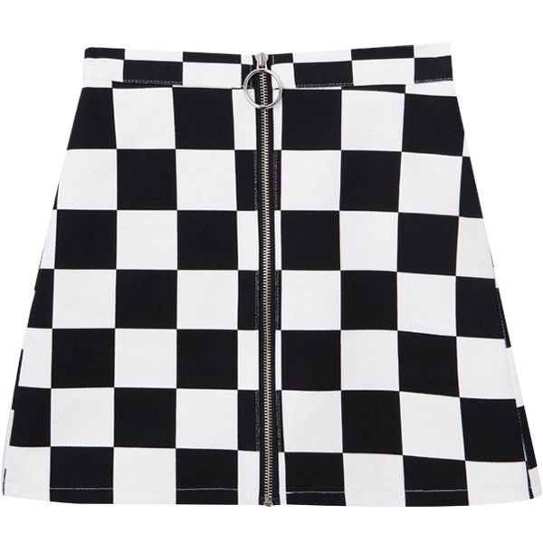 Check Zip-Front Mini Skirt ($6.90) ❤ liked on Polyvore featuring skirts, mini skirts, slimming skirts, front zipper skirt, checkered skirt, high rise skirts and front zip skirt