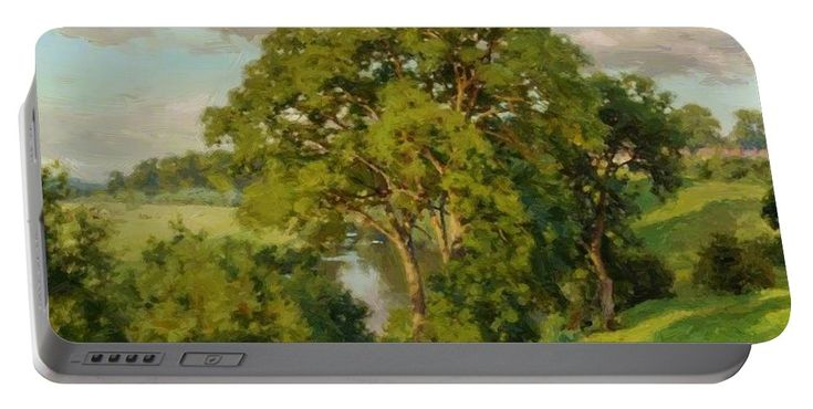 Ash Portable Battery Charger featuring the painting Ash Trees At Cropthorne Worcestershire by Parsons Alfred