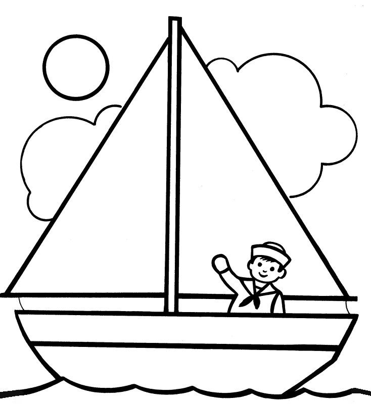 Coloring Pages Of Fishing Boats Simple Easy Small Boat Boating