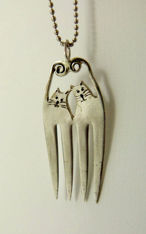 Fork Cats Hudson And Lyla  - Up cycled sterling silver and up cycled silver plated fork