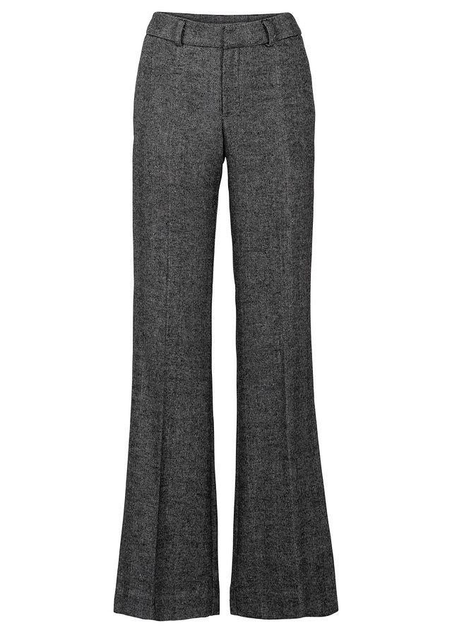 Pekné nohavice BODYFLIRT s mierne vlneným vzhľadom, široko strihané s pútkami na opasok, zapínanie na háčiky a očka, s gombičkou a zapínaním na zips vo vnútri, vnútorná dĺžka 81,5 cm vo veľ. 38.
