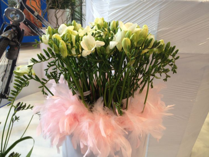 White freesia and pink feathers
