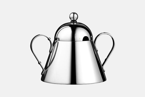 Domus Sugar Bowl  http://www.nickmunro.com/shop/tea-and-coffee/  Conical shaped sugar bowl and spoon with round lid made from 18/10 polished stainless steel. Dishwasher safe.  Dimensions:  Height: 11.5 cm  Diameter: 10 cm