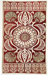 17th-century Ottoman velvet cushion cover, with stylized carnation motifs. Floral motifs were common in Ottoman art.