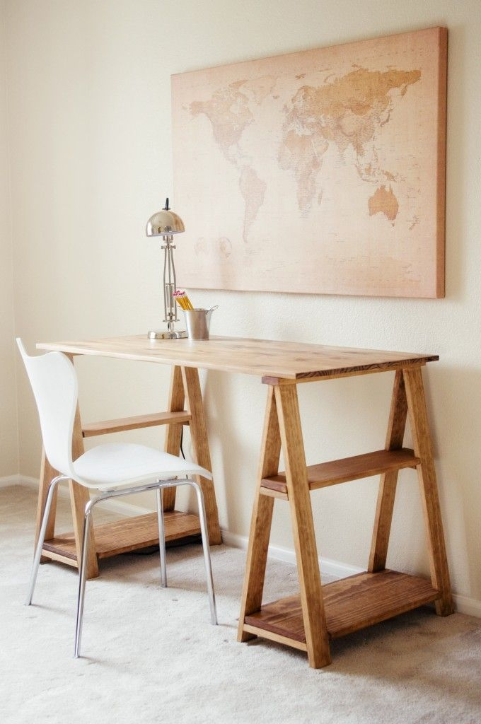 Wooden Sawhorse Desk With Shelves