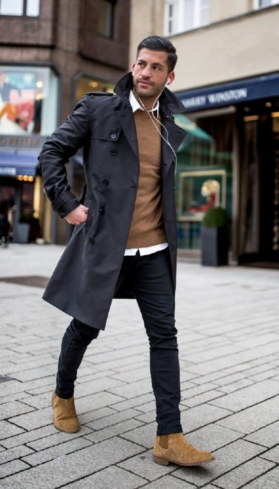 business casual look with trench coat look #Men'sFashionStyles