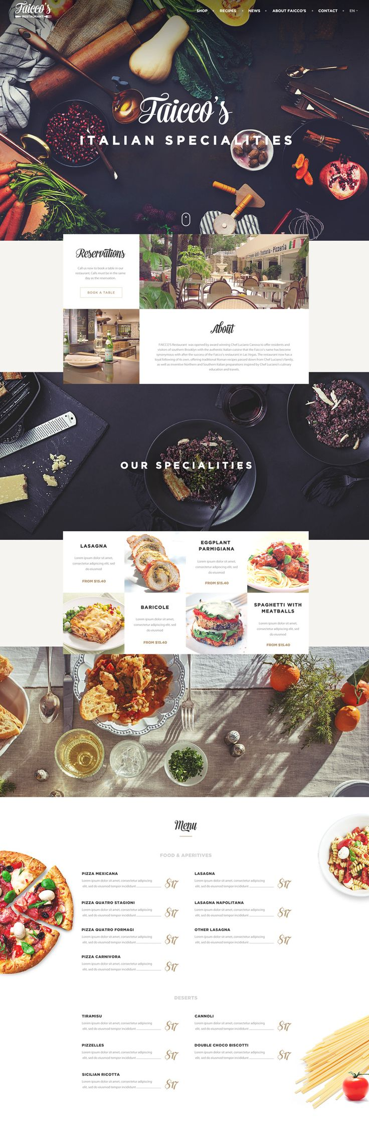 Faicco's Concept Restaurant Website