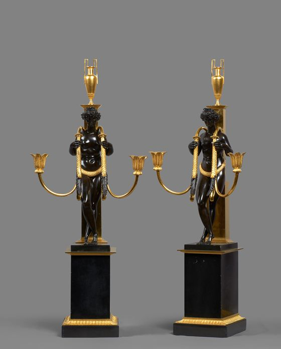 Pierre-Philippe Thomire - Egyptian Vestal Bronze and Black Marble Candelabra
