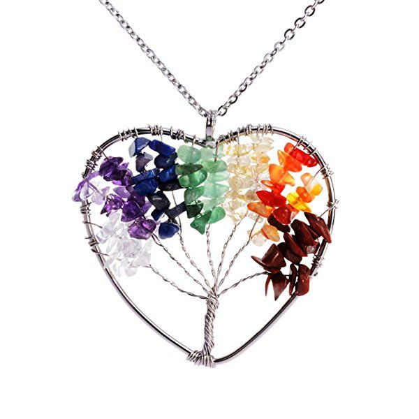 Sedmart Wire Wrapped Tree Life Pendant 7 Chakra Quartz Necklaces Heart Women Gemstone Jewelry Mother's Day Gift