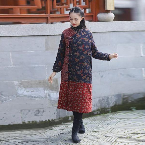 Coat - Women Ethnic Style Mixed Color Cardigan Cotton Linen Long Overcoat