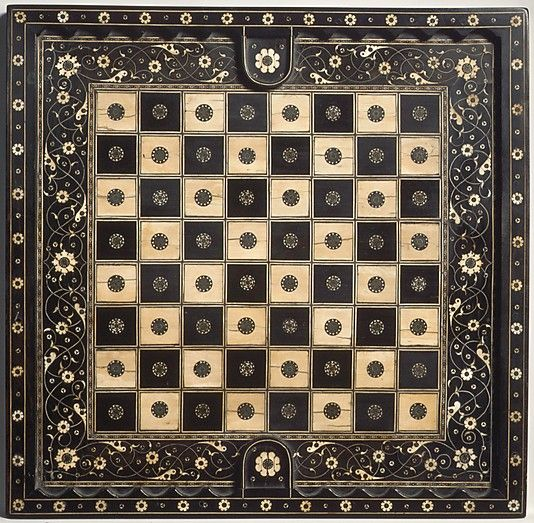 Chess Game Board  Date: 16th century Culture: North Italian Medium: Ebony, ebonized wood, ivory, green-dyed ivory, horn, gold wire