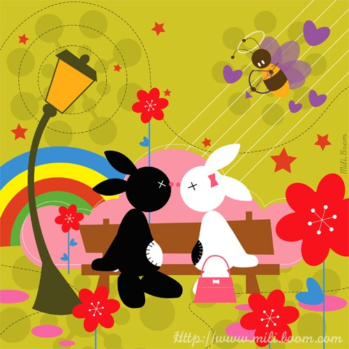 Banc,jeunesse, illustration, lapin, rabbit, Black, couleurs, vectoriel, kawaii