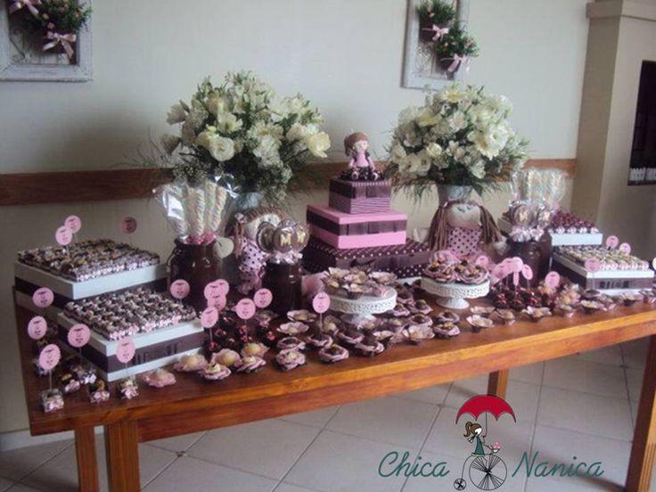 Festa de Aniversário 1 Aninho Mariana – Tema Boneca nas cores Rosa e Marrom