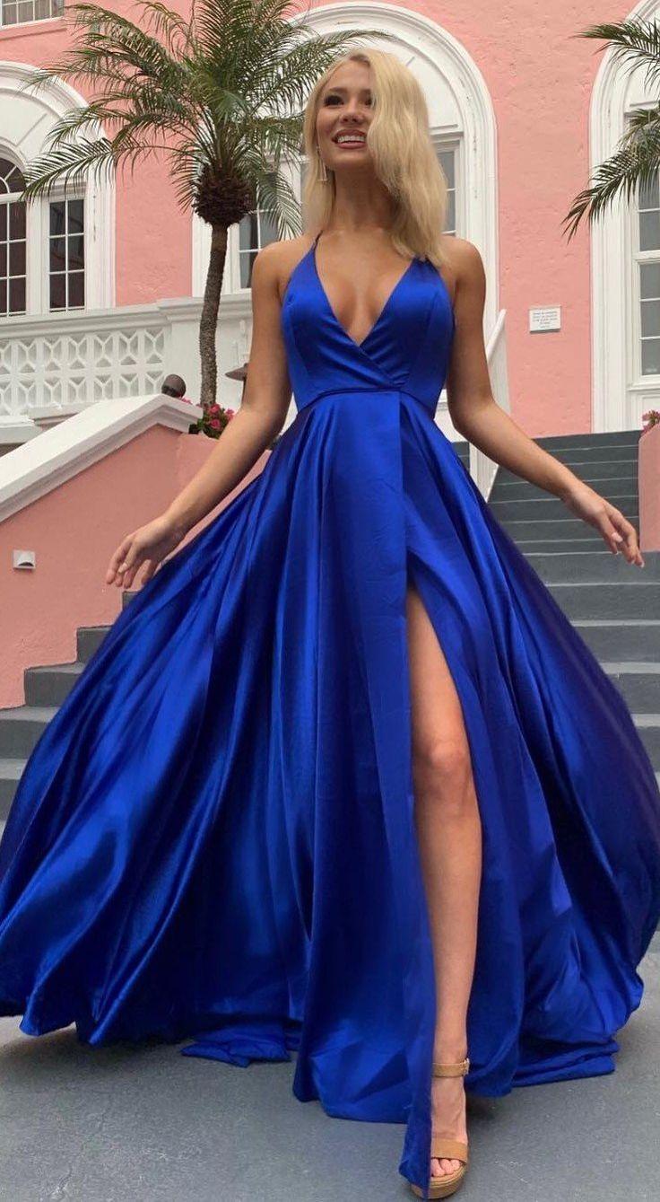 Simple A Line V Neck Spaghetti Straps Royal Blue Long Prom Dresses in 2020 | Prom dresses, V neck prom dresses, Classy prom dresses