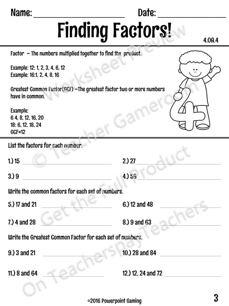 Finding factors worksheet