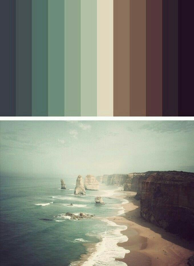 Beautiful subdued color pallette inspired by the sea with the warm browns and shades of green.
