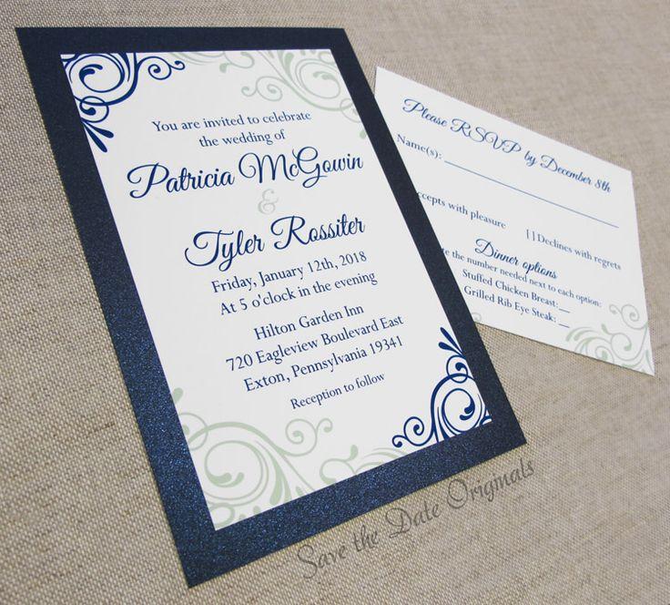Dark blue u0026 sage green layered wedding