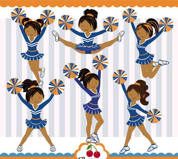 Chicas Cheerleader de piel oscuras chicas por Cherryclipart en Etsy