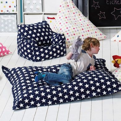 Large Lounger Bean Bag, perfect for daydreaming of space exploration and the navy stars matches all our star range