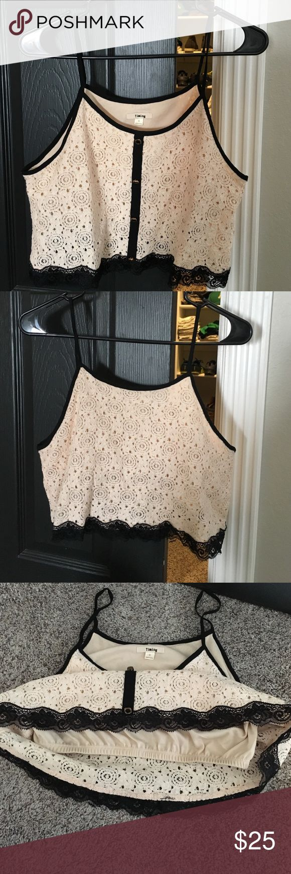 Cute lace cream crop top w/built in bra Brand new, white and black lace Tops Crop Tops