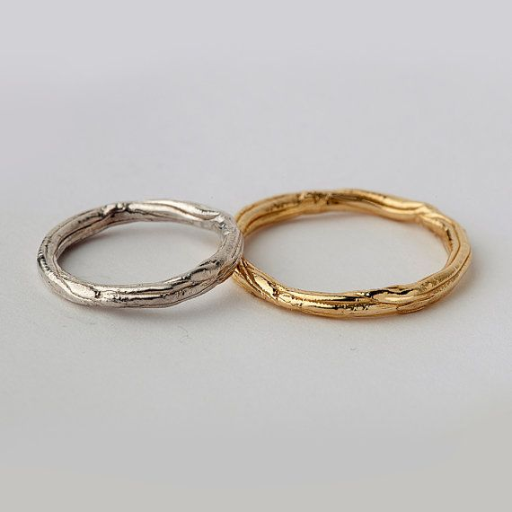 TWIG His and Hers Wedding Band Set Thin Wedding Bands by arosha