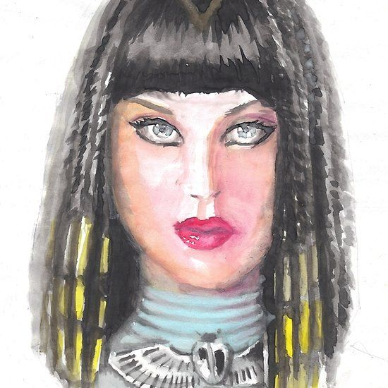 Katy Perry, watercolor portrait painting
