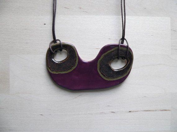 Purple statement necklace ceramic jewellery unique by islaclay