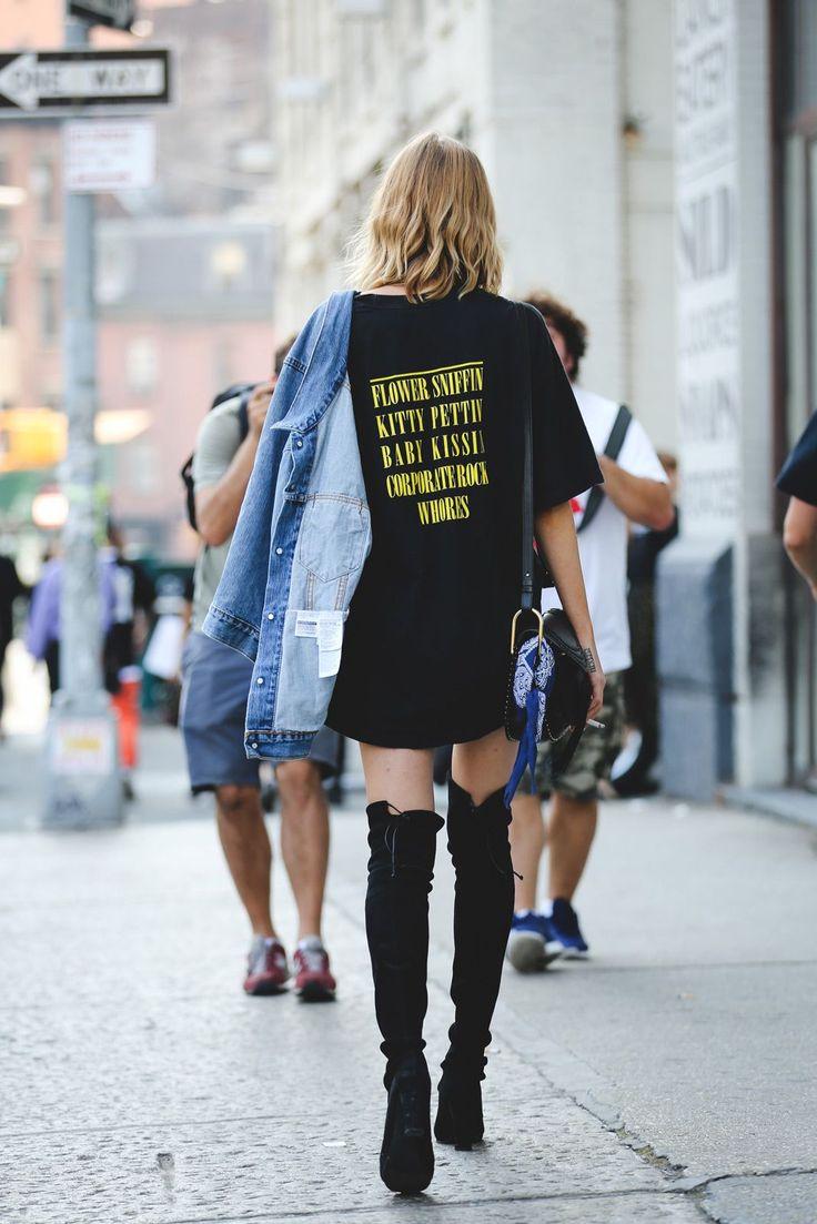 Oversized tee, over the knee black boots, denim jacket.