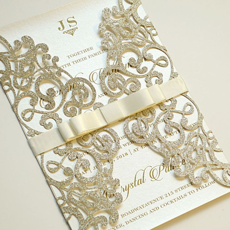 Impress Your Guests With This Breathtaking Gold Foil Laser Cut Invitations The Card Features Gorgeous Detailing And Luxurious Stamping