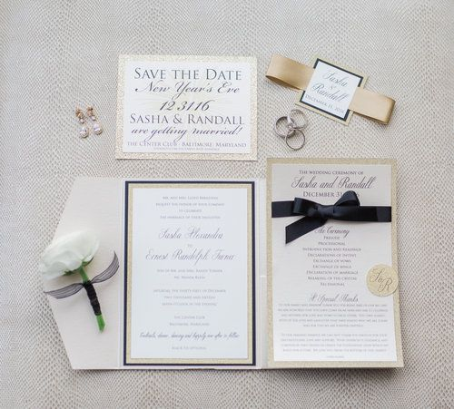 Black and gold formal invitation suite  Center Club Wedding in Baltimore, Maryland | Sasha & Randall — EAST MADE EVENT COMPANY | Baltimore Maryland Fine Art Destination Wedding Planner and Focus Bay Photography
