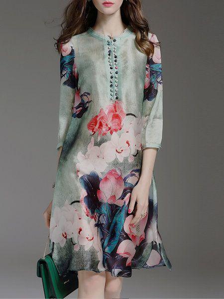 Shop Midi Dresses - Green Floral-print 3/4 Sleeve Midi Dress online. Discover unique designers fashion at StyleWe.com.