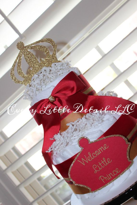 red gold prince diaper cake prince theme baby shower baby boy diaper
