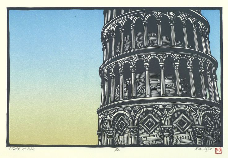 "A Slice of Pisa ~ Linocut, 15.25 x 10.25 inch ~ Rik Olson's ""A Look Back"" series"