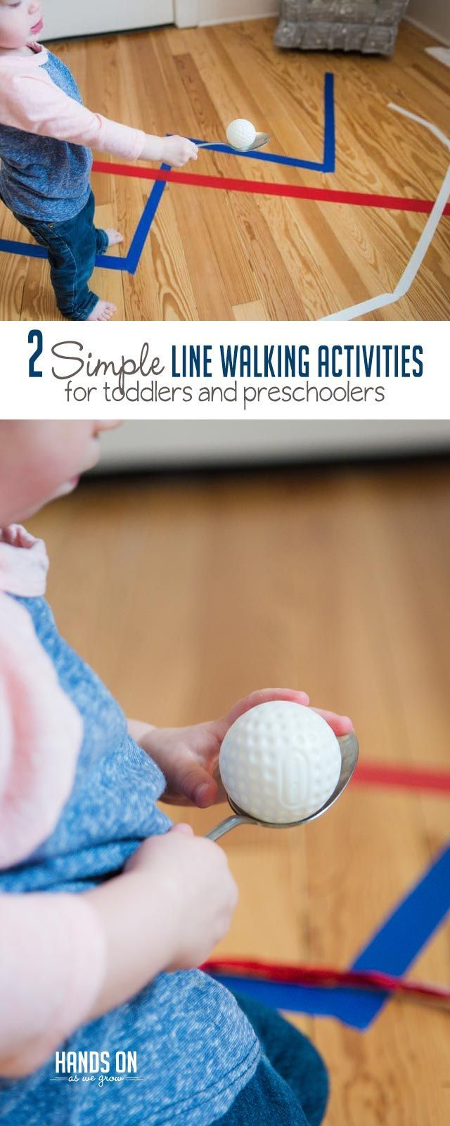 Two simple line walking activities for preschoolers and toddlers that will help practice balance and coordination! Easy set-up and directions! via Jam…