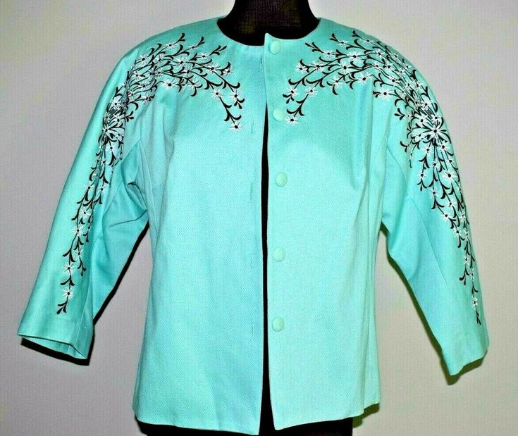 Bob mackie wearable art blossom embroidered button front