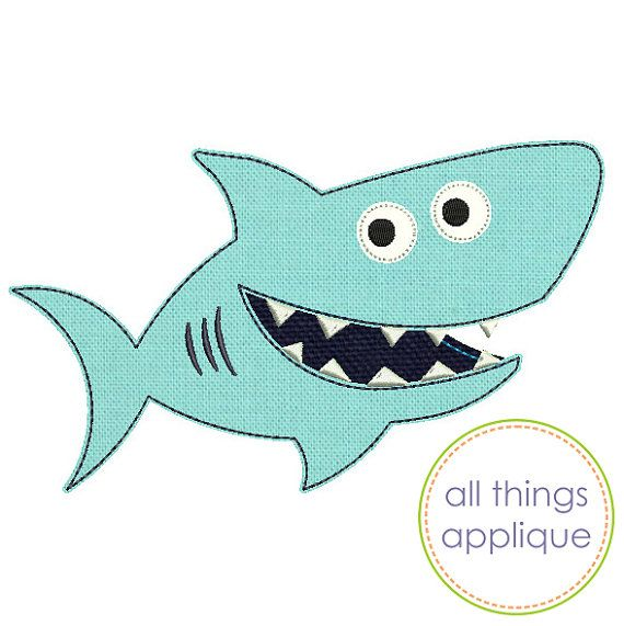 Shark   BEAN Stitch Applique Design (#763)   4 Sizes   INSTANT DOWNLOAD