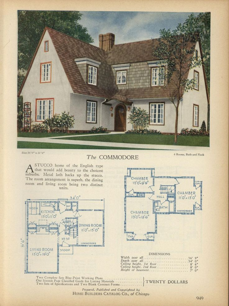 The COMMODORE   Home Builders Catalog: Plans Of All Types Of Small Homes By  Home