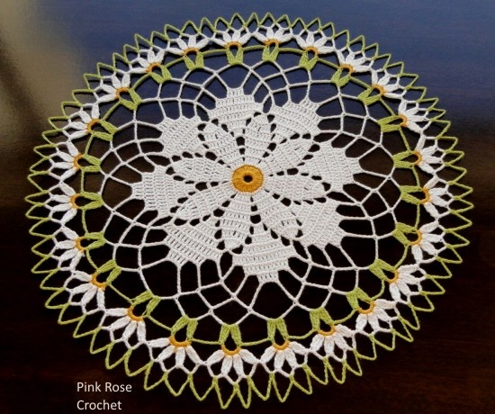 Centrinhos Crochet Doily 187 Daisy Crochet Doilie