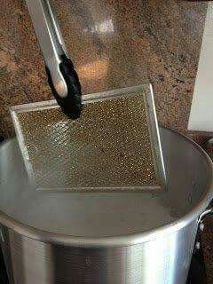 Stove vents ( 1/2 bucket boiling water & 1/2 cup baking soda , soak for at least 5 min)