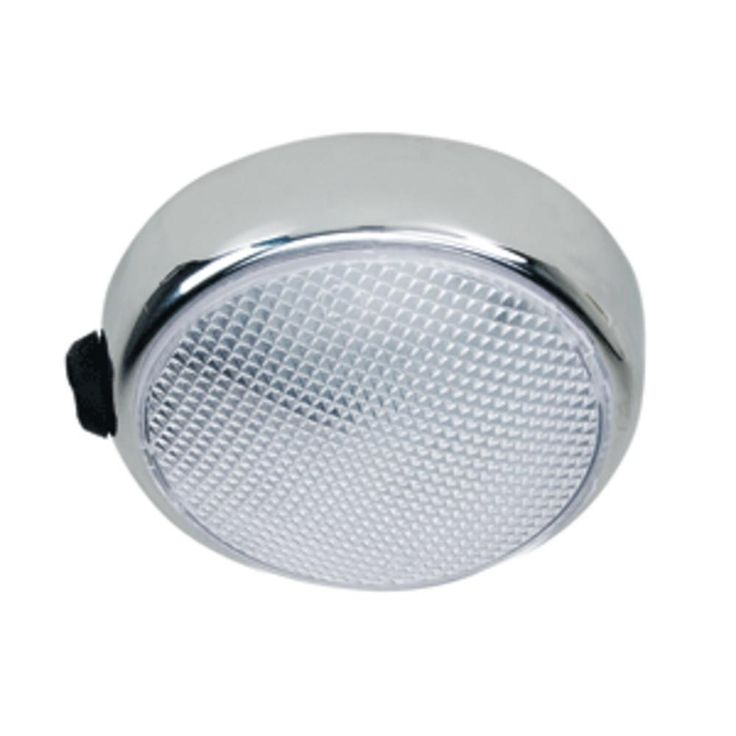 Perko Round Surface Mount LED Dome Light - Chrome Plated - w-Switch. Round Surface Mount L.E.D. Dome Light w/ On/Off Switch(1356) Chrome Plated Zinc Alloy Clear Translucent Plastic Globe  12 Volt L.E.D.s Draw Less Than 10 Watts  Dimmer Capable L.E.D.s  Screw Size No. 8 R.H.  Depth Overall 1  3 L.E.D.s 3 watt  Perko Round Surface Mount LED Dome Light - Chrome Plated - w/SwitchCondition : This item is brand new, unopened and sealed in its original factory box.